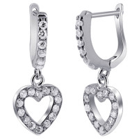 Rhodium Plated Sterling Silver Heart CZ Dangle Earrings