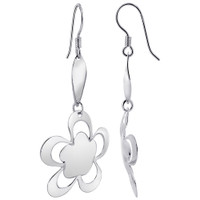 Sterling Silver Rhodium Plated Flower French wire Dangle Earrings