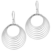 Sterling Silver 1.2 inch Round Design French ear wire Dangle Earrings