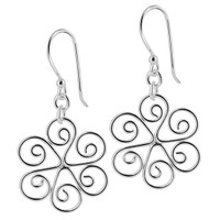 925 Plain Sterling Silver 20mm Round Floral Swirl Design French Dangle Earrings #MRES003