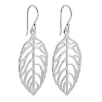 925 Plain Sterling Silver Leaf French Dangle Earrings #MRES006