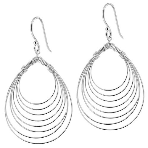 925 Sterling Silver 8 Layer Pear Design French Wire Dangle Earrings
