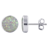 925 Sterling Silver Round Created White Opal Gemstone Post Back Stud Earrings