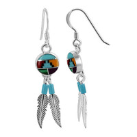 925 Sterling Silver Coral Turquoise Gemstone with Blue Beads Silver Feathers French Wire Dangle Earrings