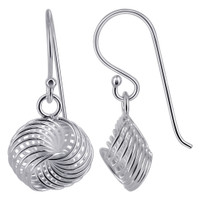 925 Sterling Silver Knot Design Drop Earrings