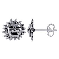925 Sterling Silver 11mm Sun with Face Design Post Back Stud Earrings
