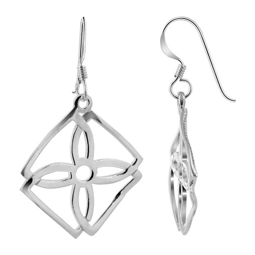 925 Sterling Silver Four-Petal Flower with 25mm Square Frame Drop Earrings