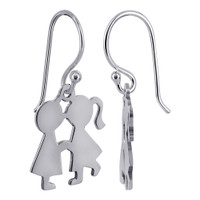 925 Sterling Silver Kissing Boy and Girl Drop Earrings