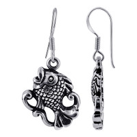 925 Plain Sterling Silver Fish with Oxidized Finish Drop Earrings #E011