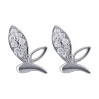 Sterling Silver CZ Studded Leaf Post Back Stud Earrings #E044