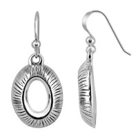 Sterling Silver Textured Oval French Hook Drop Earrings