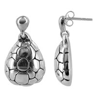925 Plain Sterling Silver Textured Turtle Shell Post Back Drop Earrings #E059