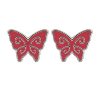 Sterling Silver Red Enamel Kids Butterfly Post Back Stud Earrings