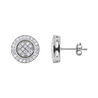 Sterling Silver Round Pave Set Cubic Zirconia Post Back Stud Earrings #E084