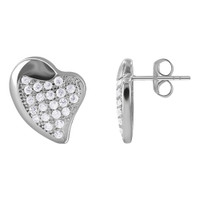 Sterling Silver Pave Set CZ Fancy Heart Stud Earrings #E086