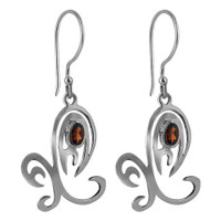 Sterling Silver Unique Oval Ruby Cubic Zirconia Earrings