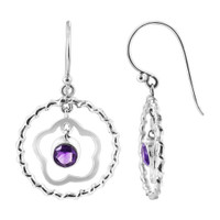 925 Sterling Silver Twist Circle with Amethyst Color Cubic Zirconia Flower Drop Earrings