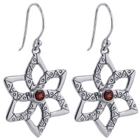 Sterling Silver Star Design Ruby Cubic Zirconia Earring