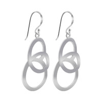 925 Sterling Silver Twisted Swirl Design Drop Earrings