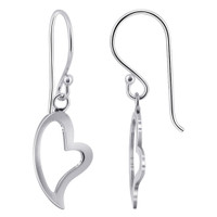 925 Plain Sterling Silver Heart Design Drop Earrings #NNES194