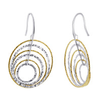 Rhodium Plated Over 925 Sterling Silver Round Two tone Hollow Hoops Drop Earrings