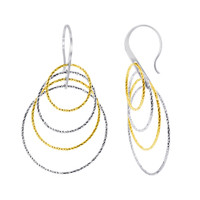 Rhodium Plated Over 925 Sterling Silver Round Two tone Hollow Hoops Drop Earrings #AZES019