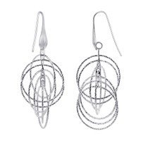 Rhodium Plated Over 925 Plain Sterling Silver Round Hollow Hoops Drop Earrings #AZES018
