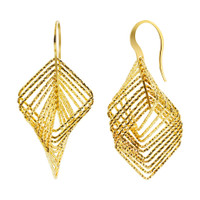 Rhodium Plated Sterling Silver Two tone Hook Earrings #AZES017