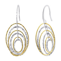 925 Sterling Silver Oval Two tone Hollow Hoops Drop Earrings #AZES023