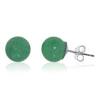 925 Sterling Silver Post Green Gemstone 8mm Ball Stud Earrings