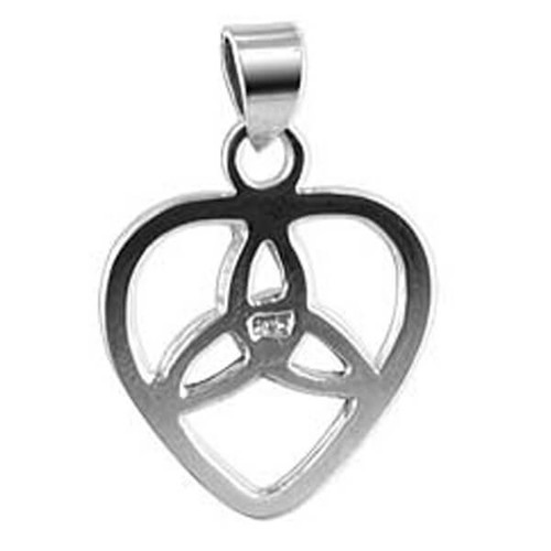 925 Sterling Silver 18mm Heart Triquetra Pendant