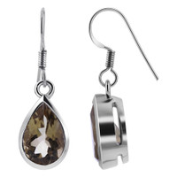 925 Sterling Silver Pear shape Faceted Citrine Gemstone Drop Earrings