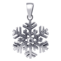 925 Sterling Silver 14mm Snowflake Pendant