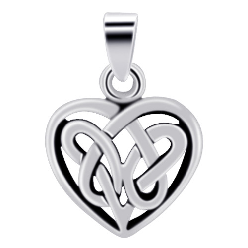 925 Sterling Silver 12mm Celtic Knot Heart Pendant