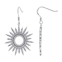 925 Sterling Silver Sunflower Design Cubic Zirconia Pave Set Drop Earrings