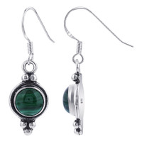 Vintage Style Malachite Gemstone 925 Sterling Silver Drop Earrings