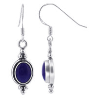 925 Sterling Silver Oval Simulated Blue Lapis Lazuli Gemstone French Hook Drop Earrings #GE232
