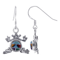 925 Sterling Silver Round Multi Stone Concho Frog Drop Earrings