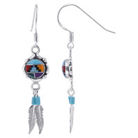 925 Sterling Silver Round Flower Concho Multi Stone with Silver Feathers Drop Earrings