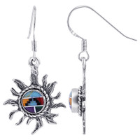 925 Sterling Silver Sun Design Multi Stone Concho Drop Earrings