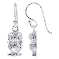 925 Plain Sterling Silver Owl French Wire Drop Earrings #GE276