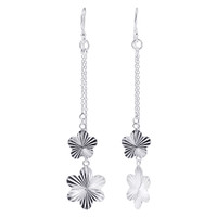 925 Plain Sterling Silver Flower French Wire Dangle Earrings #GE281