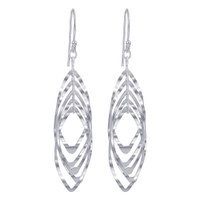 925 Sterling Silver Elliptical Oval French Wire Drop Earrings