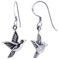 925 Sterling Silver Aerie Bird French Wire Drop Earrings #GE292