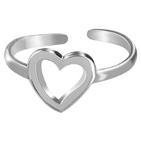 925 Sterling Silver Open Heart Toerings