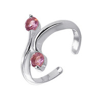 925 Sterling Silver with Two Pink ice Cubic Zirconia Toerings