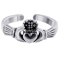 925 Sterling Silver Irish Claddagh Love and Friendship Toerings