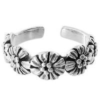 925 Plain Sterling Silver 5mm Wide Flowers Toerings #BDTS007