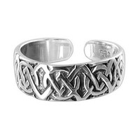 925 Sterling Silver Celtic knot 5mm Toe Ring