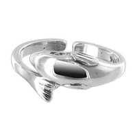 925 Plain Sterling Silver Cute Dolphin 6mm Toerings #BDTS014